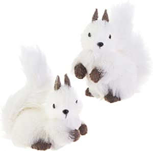 RAZ Imports White Winter Woodland Squirrel Ornaments - Set of 2 Assorted