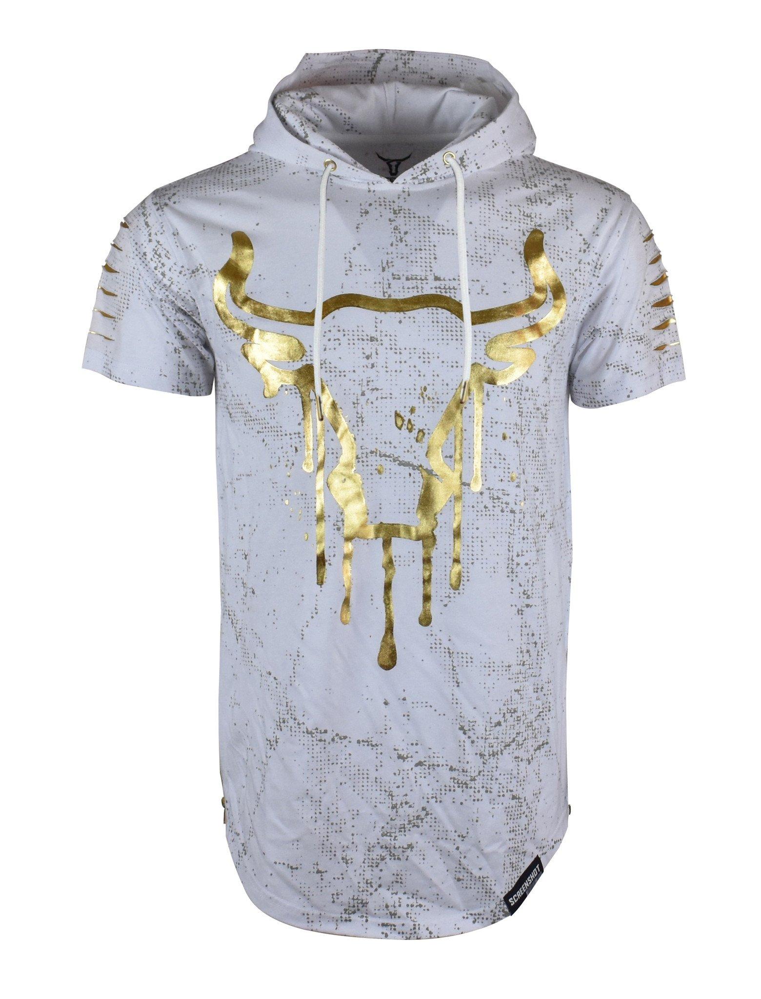 SCREENSHOT SCREENSHOTBRAND-732 Mens Hip Hop Longline Premium Tee - Pullover Hooded Fashion T-Shirt w/Side Zipper Bull Print - White - Small