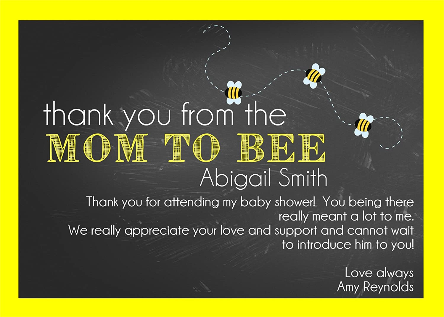 Personalized Bumble Bee Baby Shower Thank You Cards