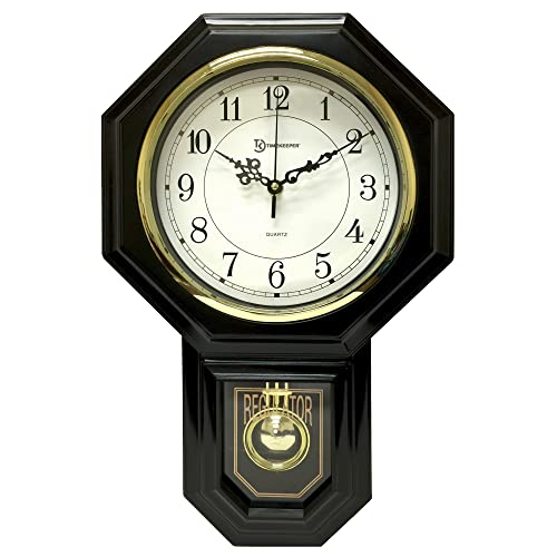 Timekeeper Essex Westminster Chime Pendulum Wall Clock, 17.5 x 11.25 , Black