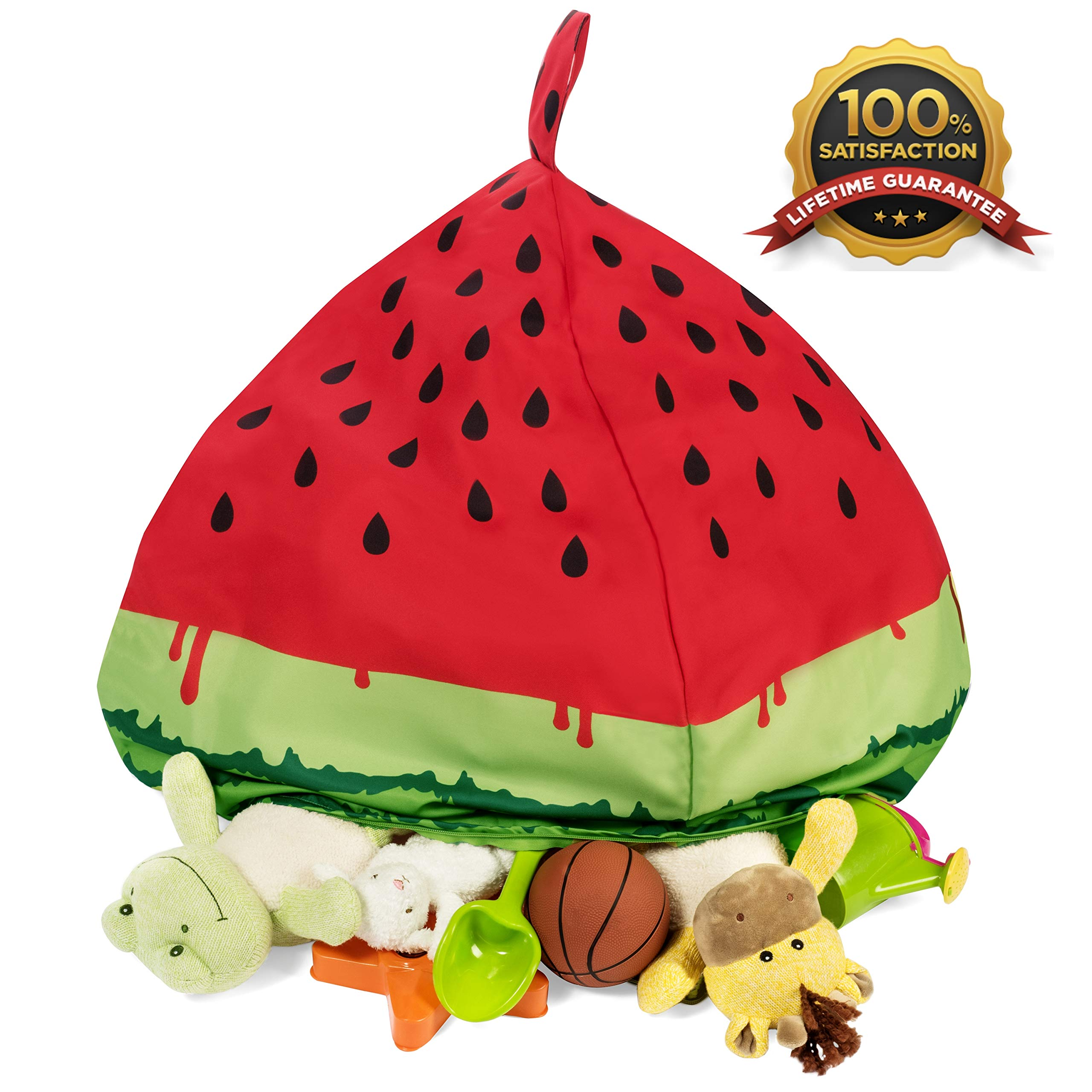 Fill It Bean Bag Cover | Stuffed Animal Bean Bag Storage | Watermelon Design | Premium Quality | Strong Zippers by Fill It