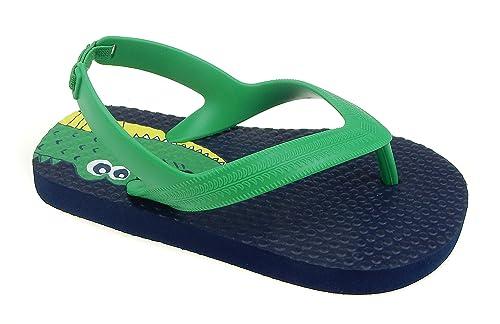 6e906a1c944 ACI Toddler Beach Flip Flop for Boys Sandals Blue Green Shoe (7/8, Navy  Dino)