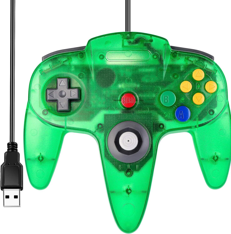 control usb para pc estilo nintendo 64 verde transparente