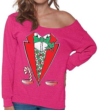 pekatees christmas tuxedo sweatshirt off shoulder christmas sweatshirt ugly christmas sweater ugly christmas costume christmas suit - Pink Ugly Christmas Sweater
