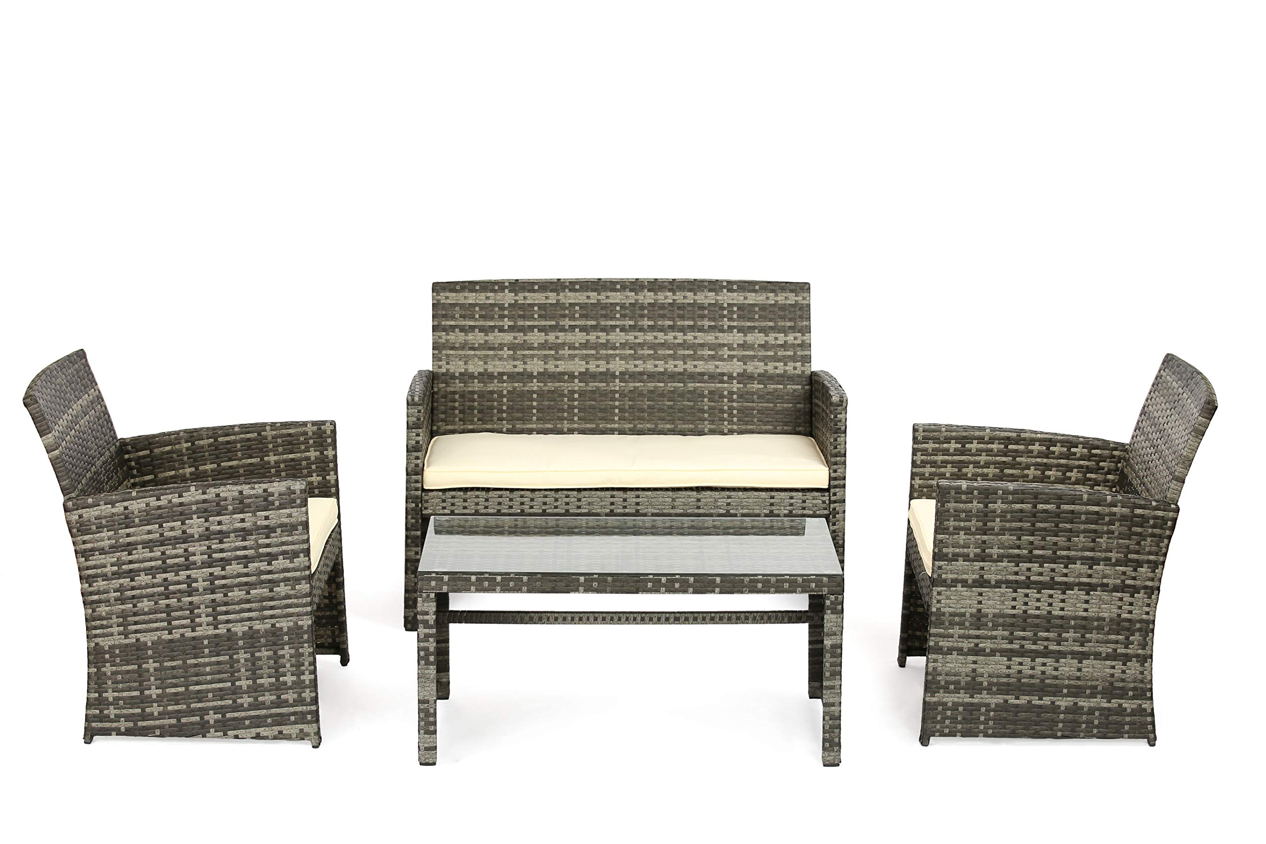 OUTROAD Outdoor Furniture 4 Piece Grey Wicker Patio Sofa Set - All Weather Cushioned Wicker Love Seat with Glass Top Table and Two Armchairs - Premium Comfort - This patio set comes with 1 loveseat, 2 chairs and tempered glass top table. Great for a small group get together, relax and enjoy a moment of peace. Build a cozy corner for a high tea or a magazine. Sturdy and durable - Powder-coated steel with hand woven weather-resistent PE ratten wicker for the best stability and extended life cycle Quick Assembly - All hardware and tools are included for a quick and pleasant assembly. Easy project for a valuable family exercise. - patio-furniture, patio, conversation-sets - 81ABOwxjOBL -