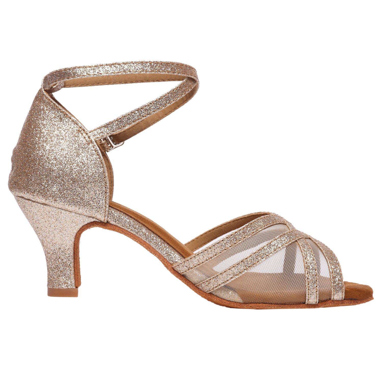 Akanu Women's Latin Dance Shoes Female's Ballroom Salsa Dance Shoes(E-Style Gold Size 7.5) by Akanu (Image #6)