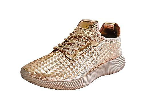 wholesale dealer b2cc1 44384 Amazon.com   ROXY ROSE Women Metallic PU Leather Sneaker ...