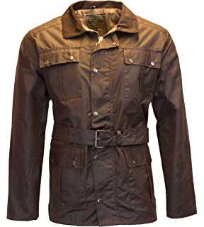 b65a416ffcf4d Walker and Hawkes Mens Belted Wax 4 Pocket Motorcycle Waterproof Jacket