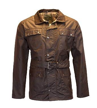 d44ea1d1 Walker and Hawkes Men's Belted Waxed 4 Pocket Motorcycle Waterproof Jacket  Small Brown