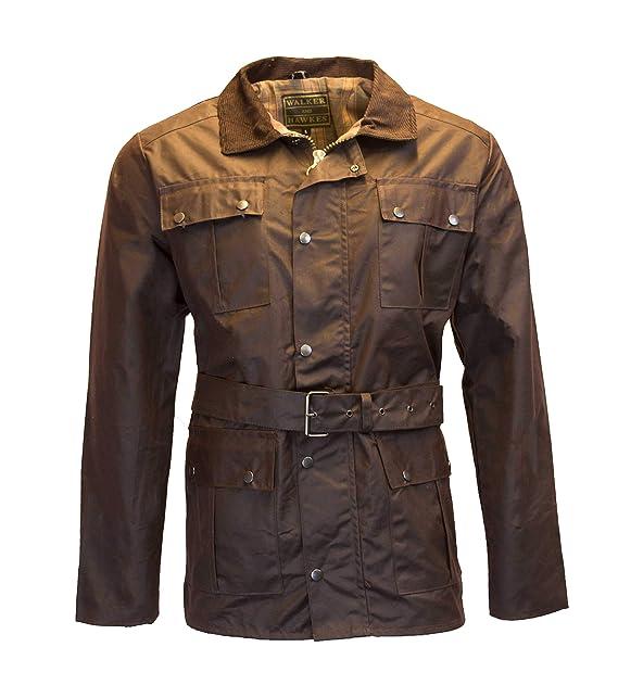 31e2eb6c2477 Walker e Hawkes Giacca Cerata con Cintura 4 Tasca Moto Impermeabile da Uomo  – Marrone Brown