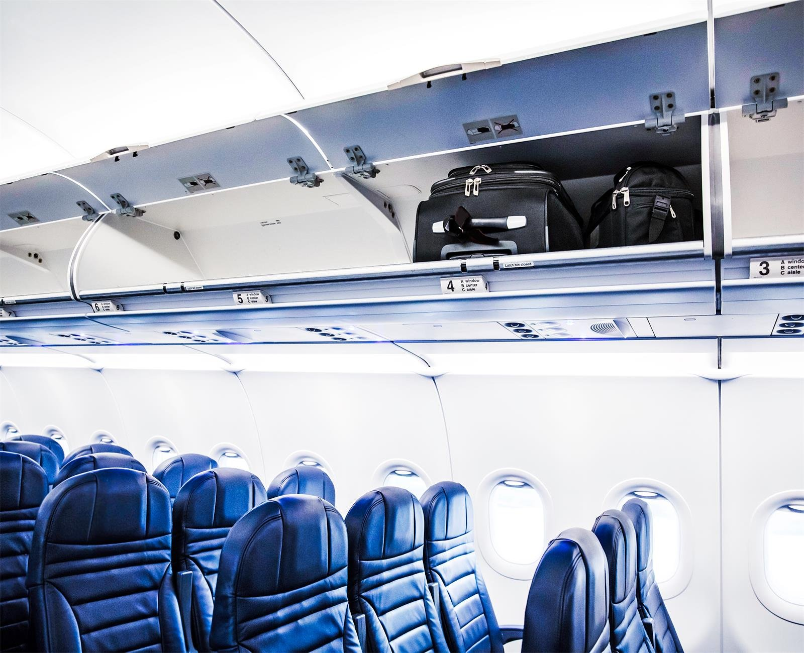 AOFOTO 8x6.5ft Airplane Interior Background Aircraft Inside Cabin Seat And Overhead Bins Photography Backdrop Business Vacation Trip Photo Shoot Studio Props Adult Artistic Portrait Vinyl Wallpaper