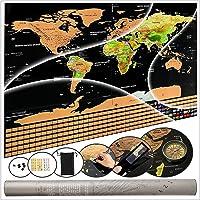 Mapa Mundi Raspadinha | Pôster Mapa Mundi de Raspar Completo com Bandeiras e Assessórios | 82,5 x 59,3 cm | Presente perfeito para Viajantes, Decoração e Presente para Intercâmbio