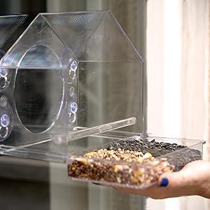 Window Bird Feeder with Sliding Feed Tray