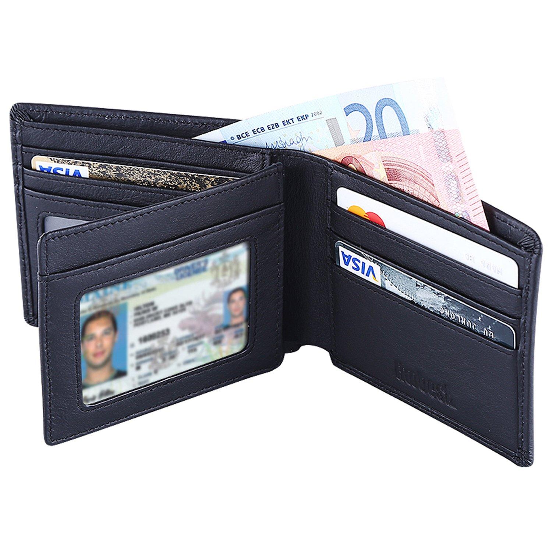 Hoobest RFID Blocking Genuine Leather Wallet for Men ...