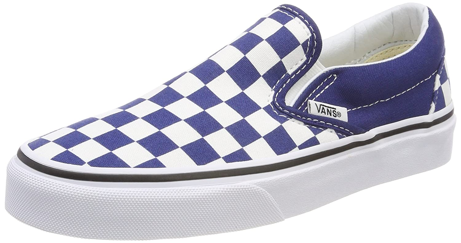 Vans Unisex Classic Slip-On (Perf Leather) Skate Shoe B074H63MBK 11.5 B(M) US Women / 10 D(M) US|Checkerboard Estate Blue True White