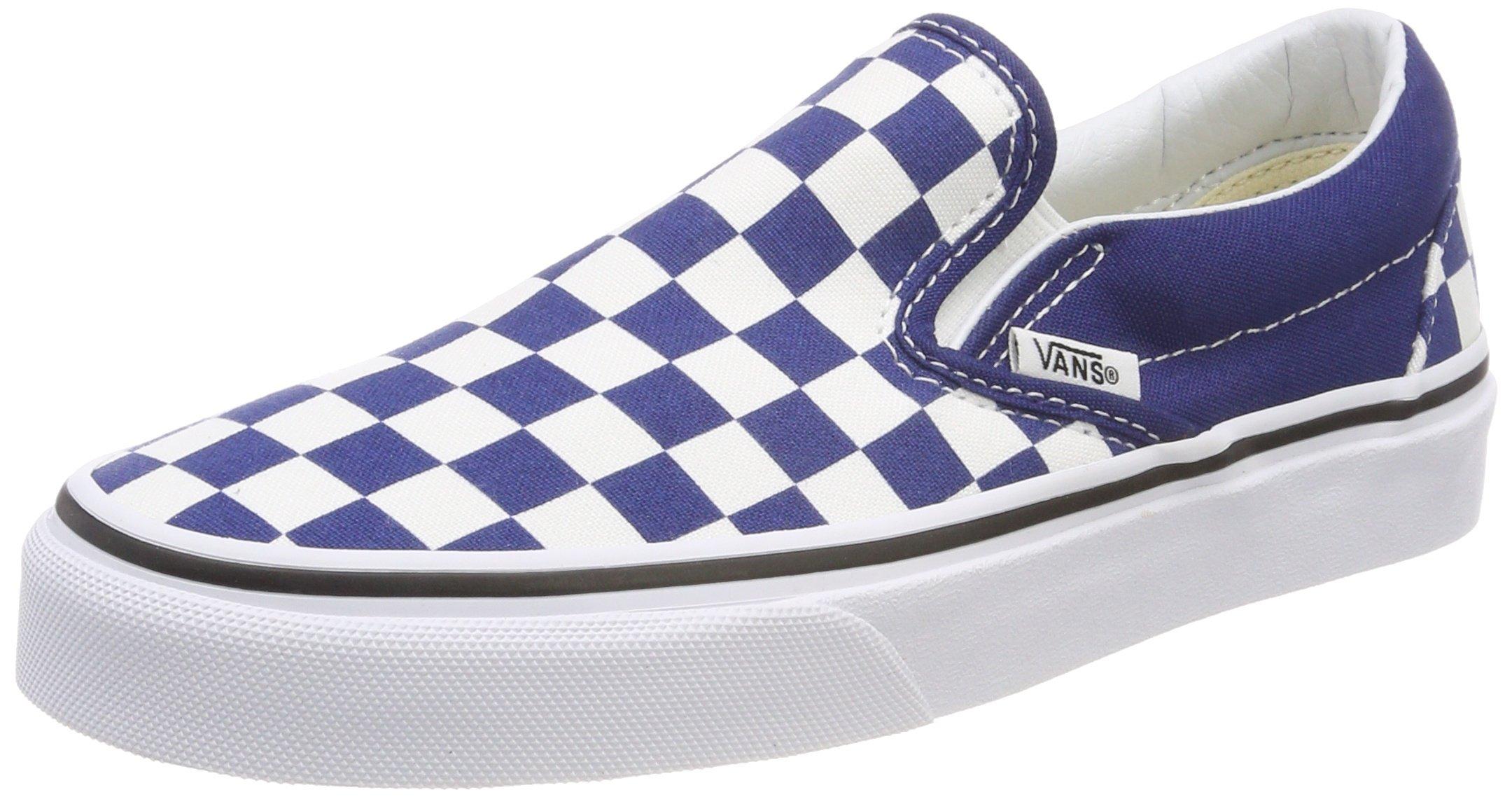 Vans Unisex Adults' Classic Slip on Trainers, Blue ((Checkerboard) Estate Blue/True White Qcn), 11 UK 46 EU