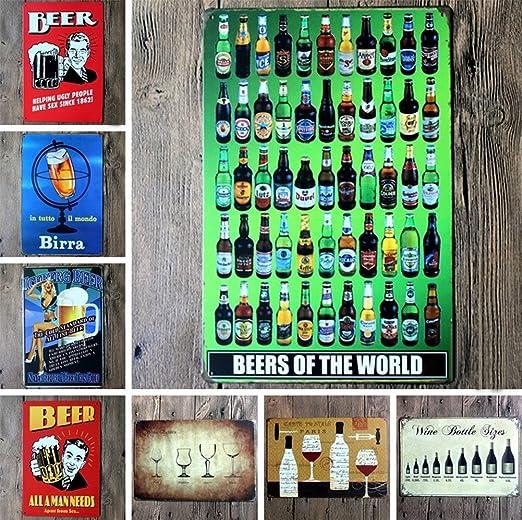iTemer 1 Pcs Retro Estilo Antiguo Bar de vinos Placas Arte Cartel ...