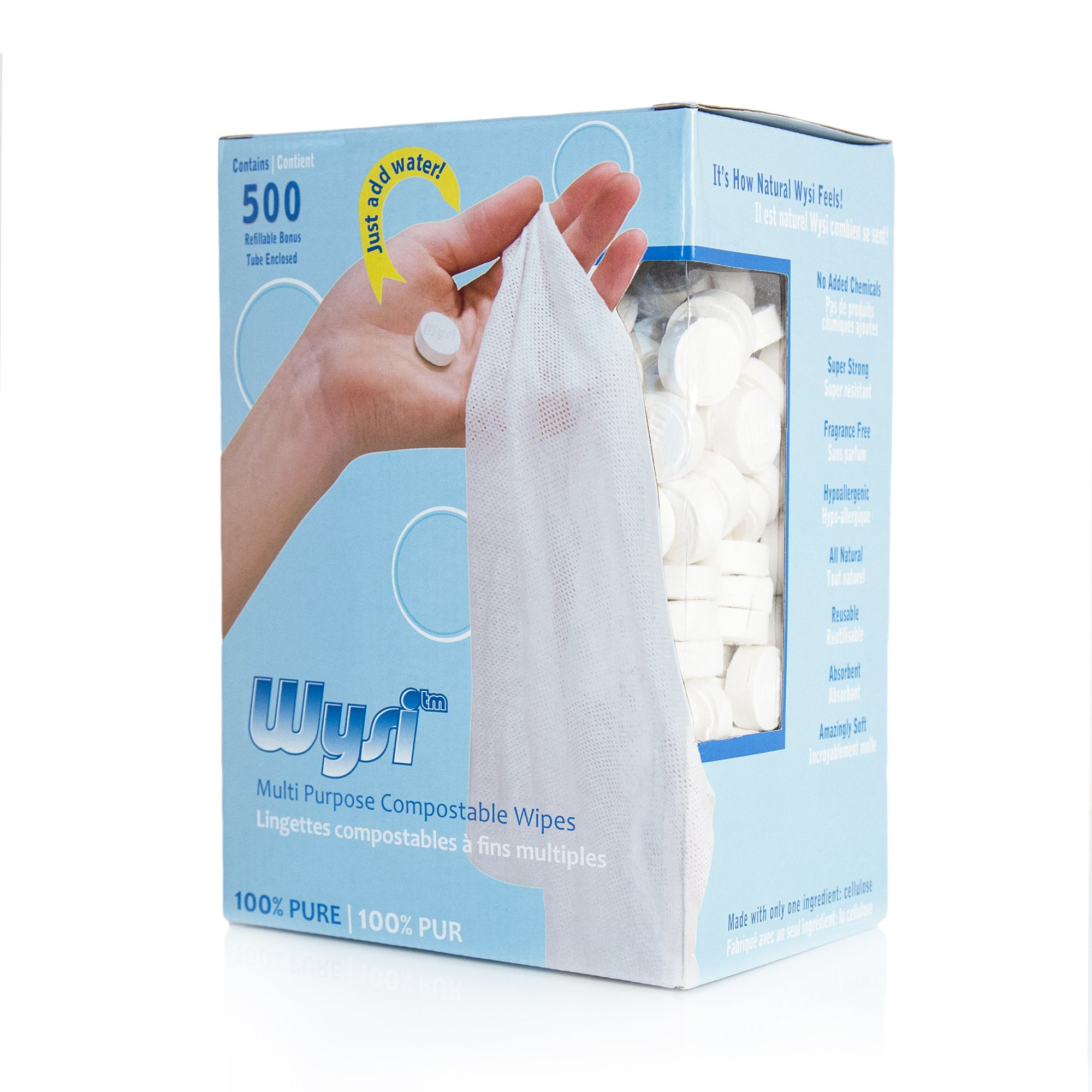 Wysi Wipe – All Natural Multi-Purpose Biodegradable Wipes, Soft, Strong and Reusable, Just Add Water – 500 Wipes and Travel Tube