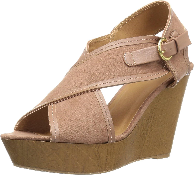 Qupid Womens Wood Heel Sandal Heeled tan Nubuck Polyurethane 5.5 M US