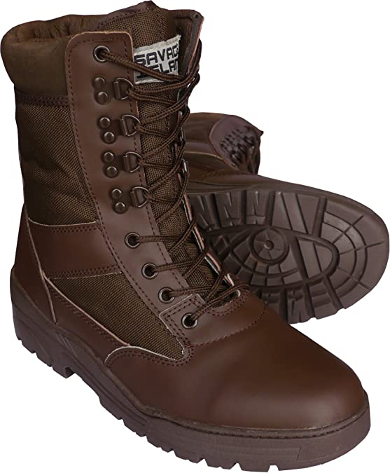 SAVAGE ISLAND COMBAT BOOTS PATROL BROWN ARMY LEATHER