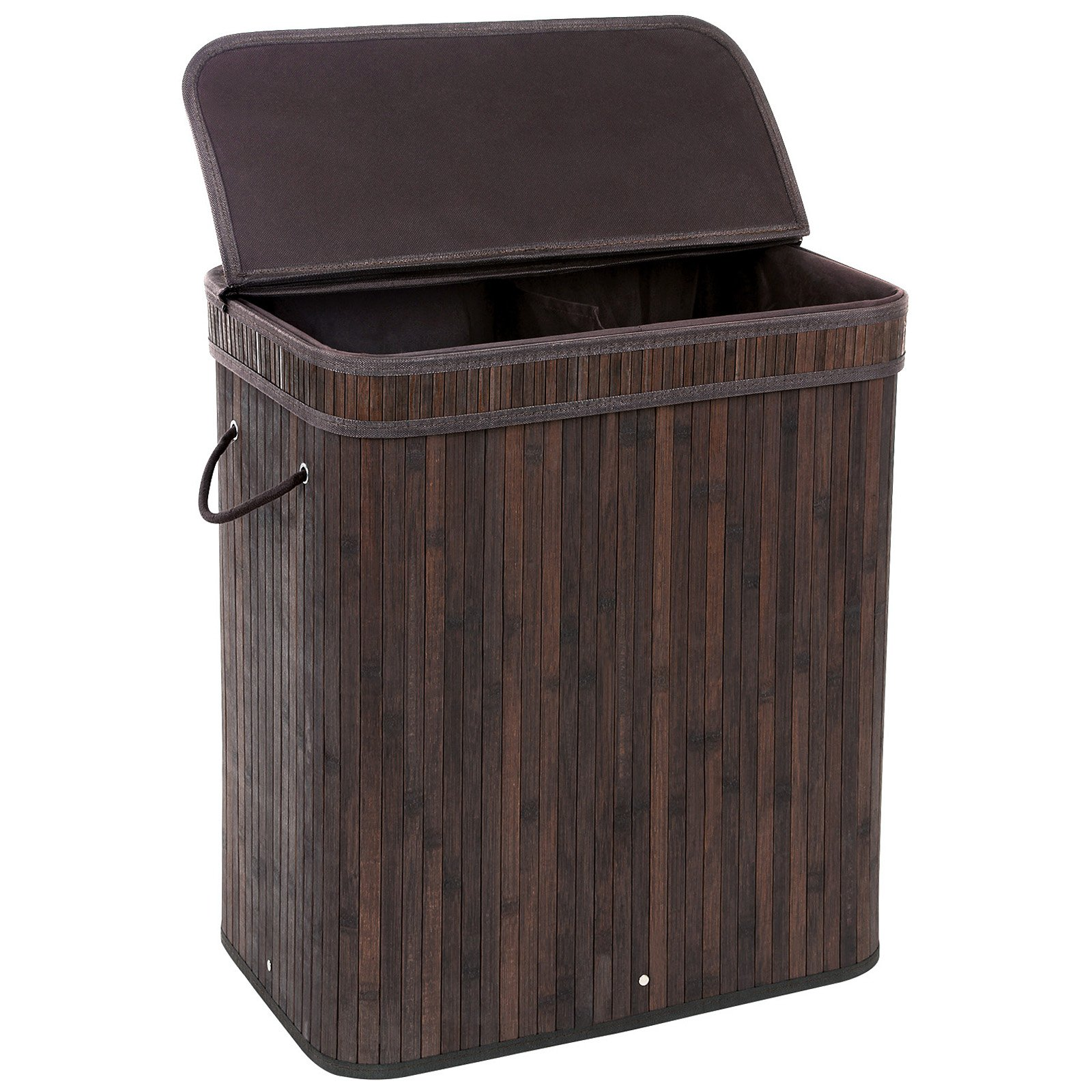 SONGMICS Divided Bamboo Laundry Basket Double Hamper with Lid Handles and Removable Liner Two-section Dirty Clothes Storage Sorter Rectangular Dark Brown ULCB64B by SONGMICS