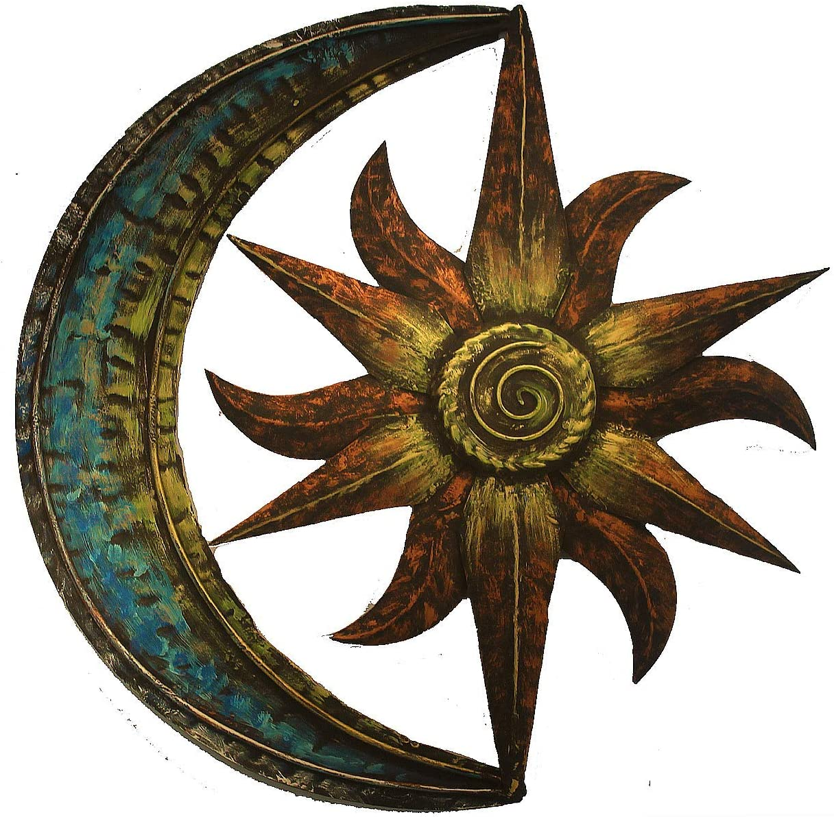 Crafia Celestial Themed Metal Wall Decor | Hand Painted Metal Wall Art | Moon Star Shape Iron showpiece | Metal Wall Decor Ideas