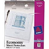 "Avery Economy Clear Sheet Protectors, 8.5"" x 11"", Acid-Free, Archival Safe, Top Loading, 50ct (74090)"