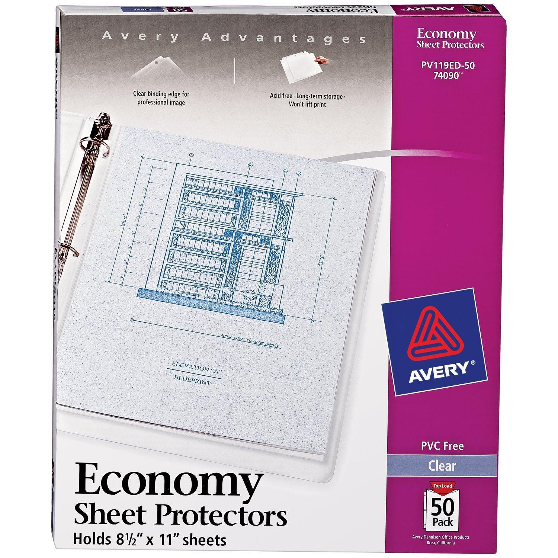 50ct Easy Load 74107 8.5 x 11 Avery Heavyweight Non-Glare Sheet Protectors Acid-Free Archival Safe