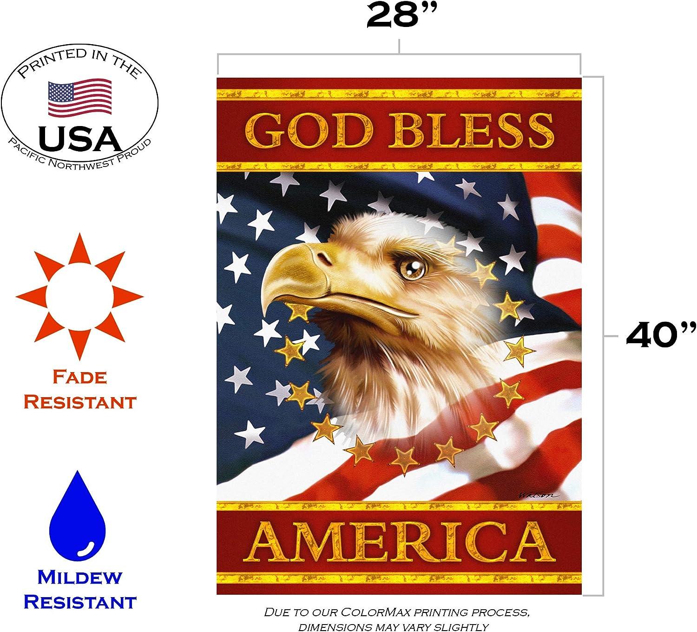 Amazon Com Toland Home Garden God Bless America 28 X 40 Inch Decorative Patriotic Bald Eagle July 4 Stars Stripes Usa House Flag Garden Outdoor