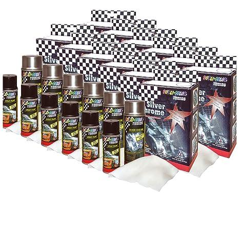 DUPLI_bundle 12 x Dupli de Color Silver Cromo Spray Juego de Spray Efecto de Capa de