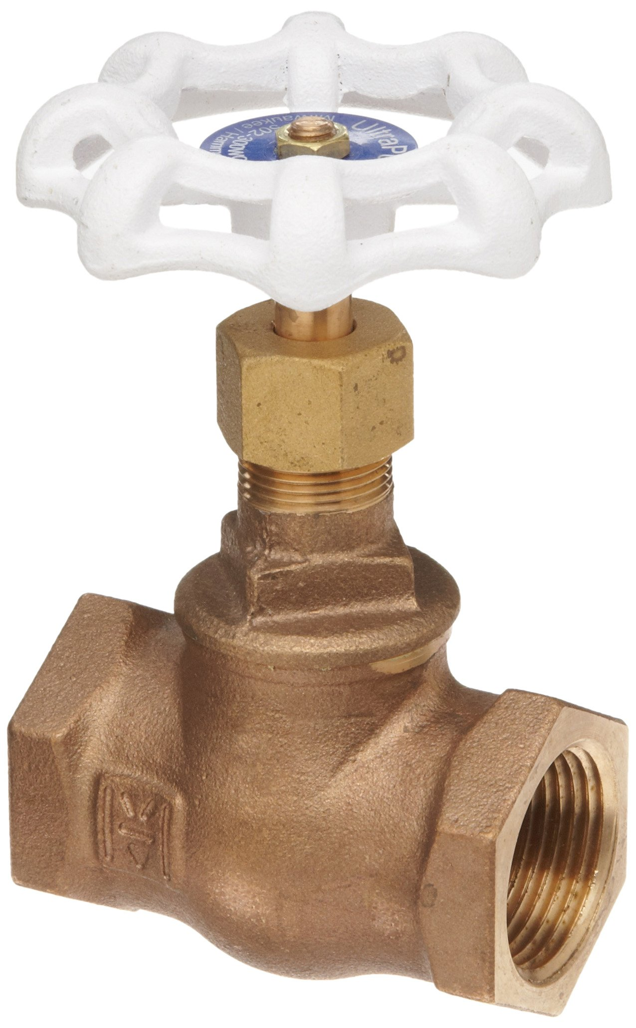 Milwaukee Valve UP502 Series Bronze Globe Valve, Potable Water Service, Inline, Threaded Bonnet, 1/2'' NPT Female