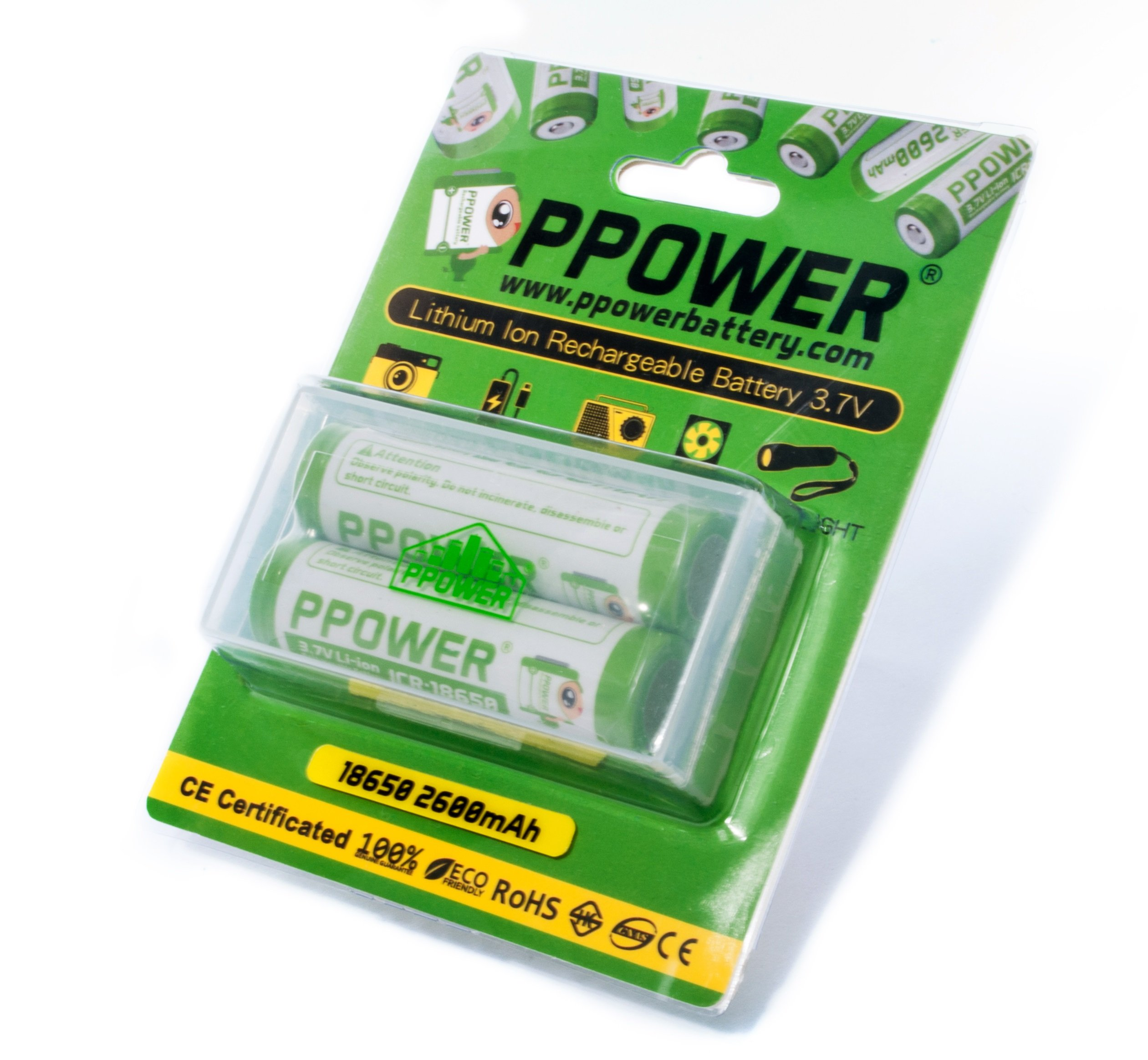 2 X Ppower 18650 3.7V 2600mAh Lithium Ion Rechargeable Batteries (CE/UL/IEC62133 Certified) for Flashlight, Portable fan, Microphones and More
