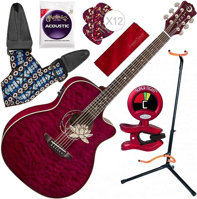 Luna Flora Series Lotus Guitarra acústica de arce con soporte para ...
