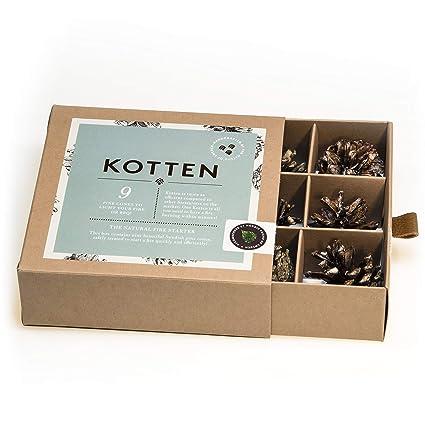 Caja con conos de pino Kotten para encender fuego de forma natural y ecológica. Para