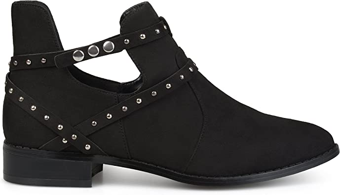 Womens Olly Faux Suede Studded Wrap Strap Side Cut-Out Pointed Toe Ankle Booties Brinley Co