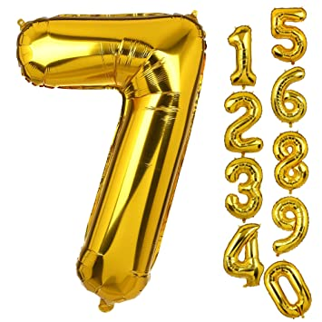 Big Number 7 Balloons Gold Mylar Foil Helium Birthday Party Decorations For Anniversary 7th