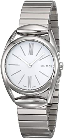 af6300ed7321 Image Unavailable. Image not available for. Color  Gucci Horsebit White Dial  Stainless Steel Ladies Watch YA140505
