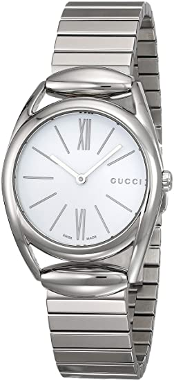 b72e1bd442013 Gucci Horsebit New Small White Dial Stainless Steel Ladies Watch YA140505   Gucci  Amazon.ca  Watches