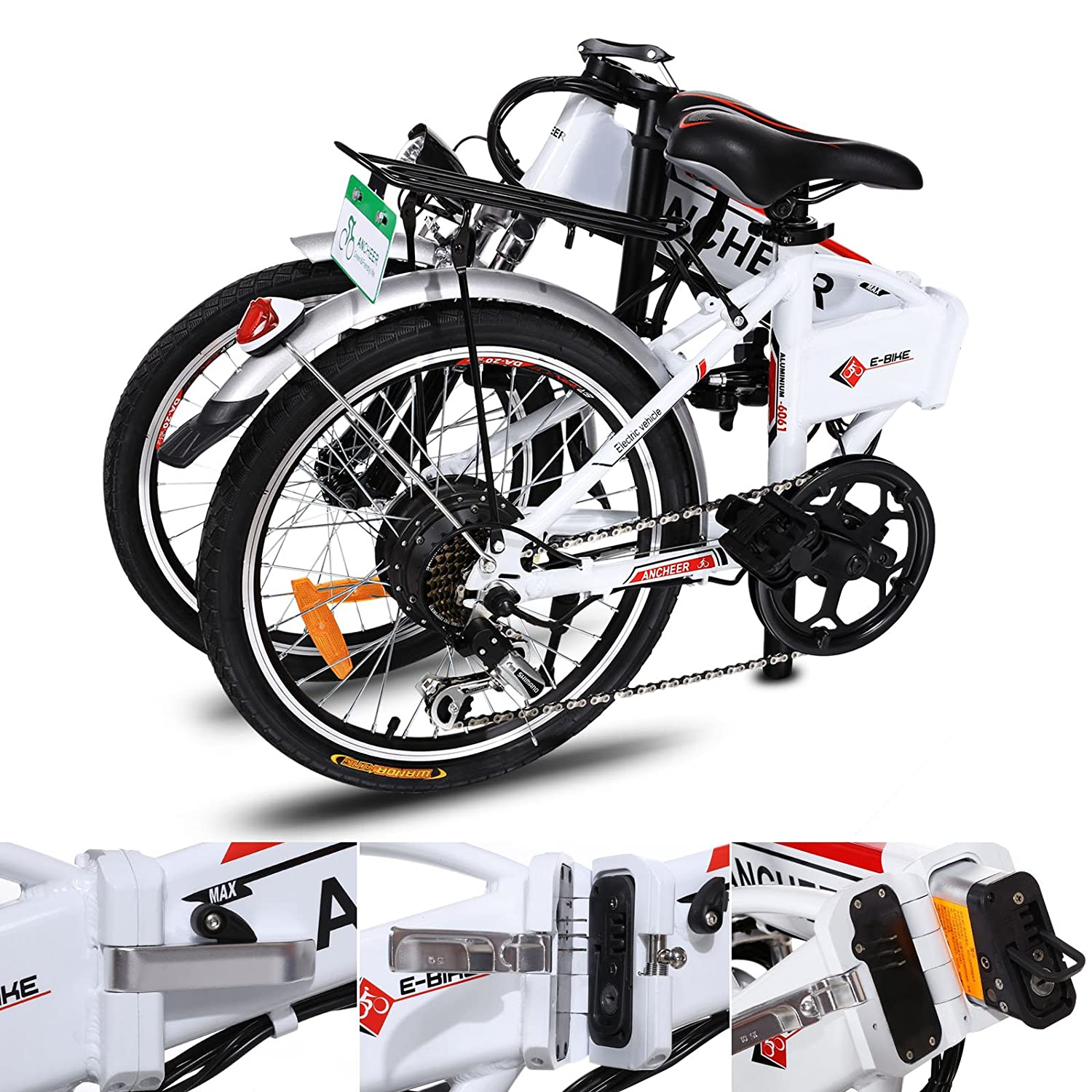 Ancheer Folding Electric Bike With 36v 8ah Removable