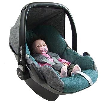 230574218f95 BAMBINIWELT Ersatzbezug für Maxi-Cosi PEBBLE 5-tlg, Bezug für Babyschale,  Komplett-Set *NEU* GRAU/TÜRKIS