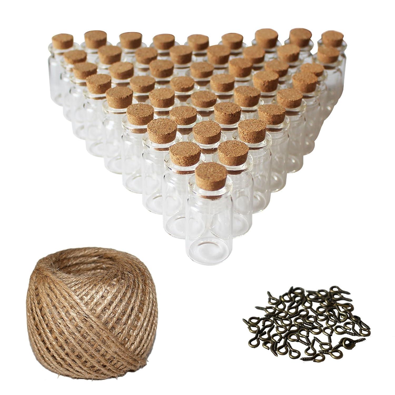 50 Pcs Mini Botellas de Vidrio - pequeño Mini botellas de cristal tarros de botella con tapón de corcho - 30 metros Twine and Screw Eye Pins - Set de botella pequeña para arte y manualidades decorativas, guirnaldas, invitaciones de boda y más Kurtzy JT-008