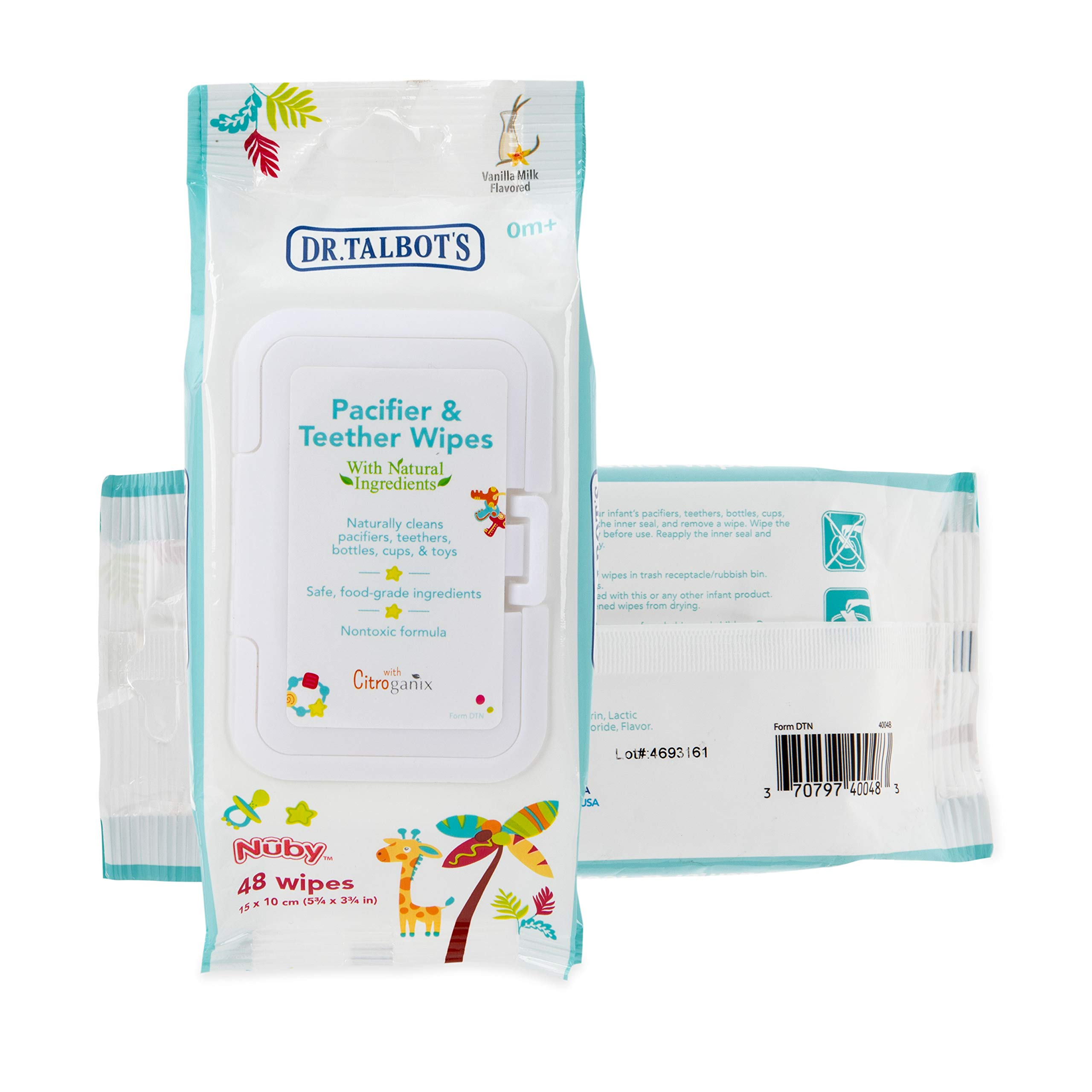 Dr. Talbot's Pacifier and Teether Wipes Naturally Inspired with Citroganix, Vanilla Milk (Pack of 2, 96 Count)