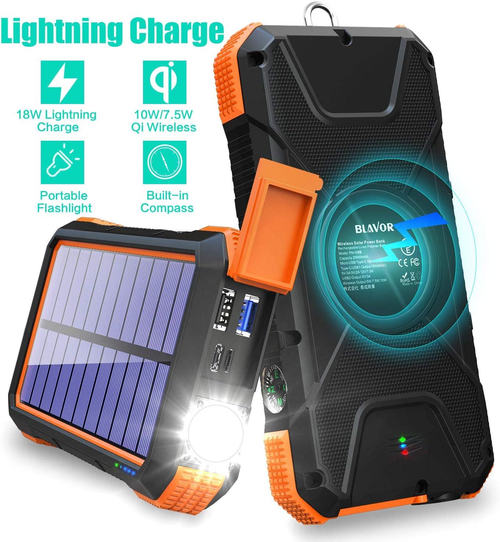 Cargador Solar Portatil Con Bateria De 20000mah Blavo (Q6GL)