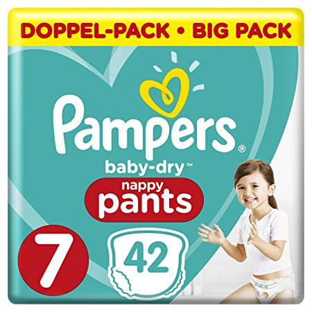 Pampers Baby-Dry Pants 42 Windeln, mit Luftkanälen, Größe 7