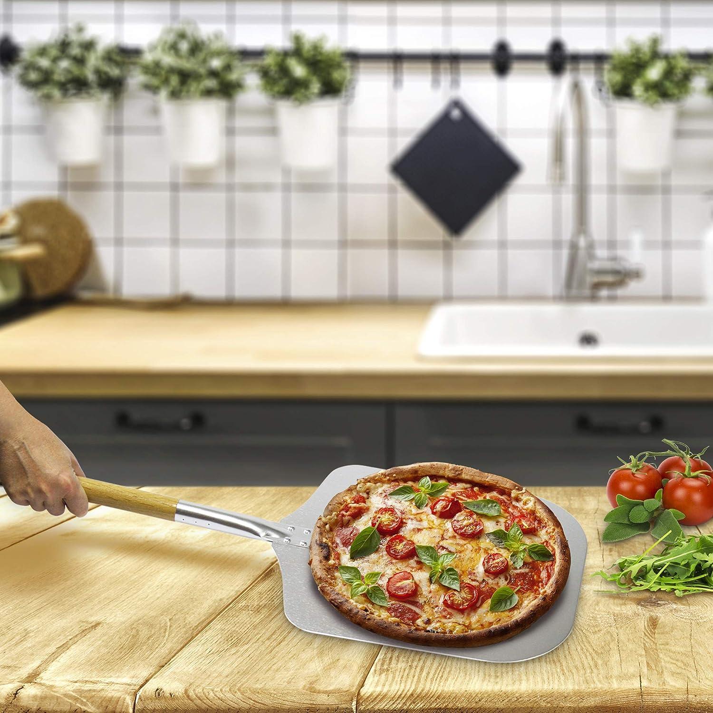 Brotschieber Pizza Paddle entwickelt f/ür den empfindlichen Pizzaboden Dolce Mare/® Pizzaschieber Pizzaheber Aluminium Pizzaschaufel mit robustem Eichenholzgriff f/ür eine angenehme Handhabung