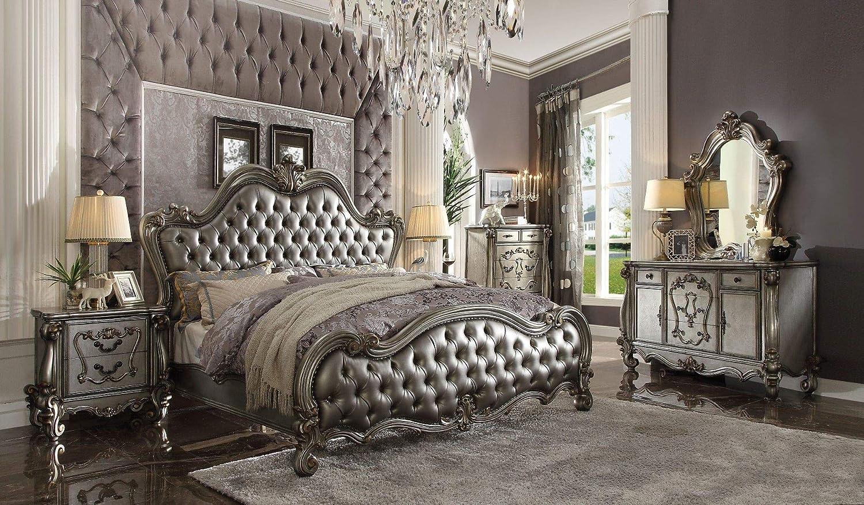 acme Versailles II Queen Bed, Silver PU & Antique Platinum (1Set/3Ctn) Vintage/Traditional/Silver PU & Antique Platinum/