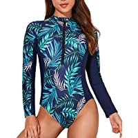 Daci Women's One Piece Long Sleeve Rashguard Zipper UV UPF 50+ Sun Protection Surfing Fashion Swimsuit Bathing Suit