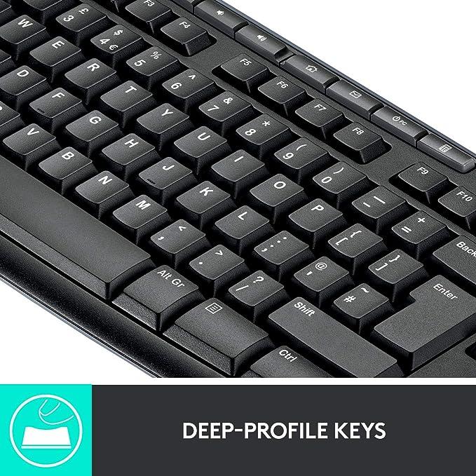 Logitech MK270 - Teclado (RF inalámbrico, Negro, USB, Batería, Óptico, Alcalino): Logitech: Amazon.es: Informática
