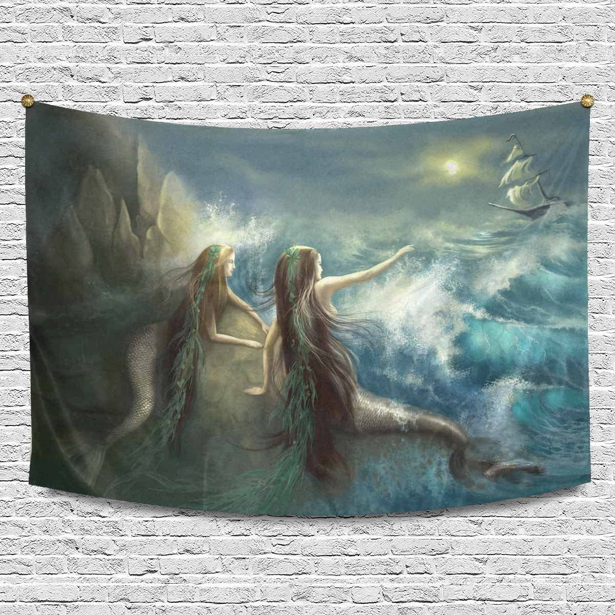 INTERESTPRINT Abstract Hunting Two Mermaids in Stormy Ocean Tapestries Home Decor, Cotton Linen Tapestry Wall Hanging Decorative Tapestry, 90W X 60L Inch
