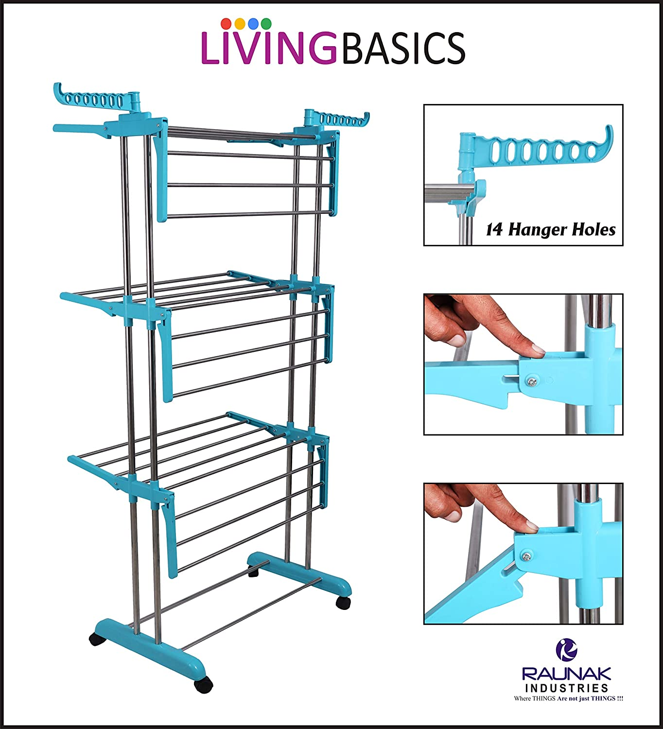LivingBasics Heavy Duty Foldable Cloth Drying Stand